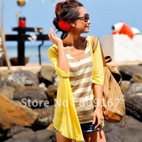 Summer sun protection clothing medium-long cardigan ultra-thin sun shirt sweater female cardigan 77131
