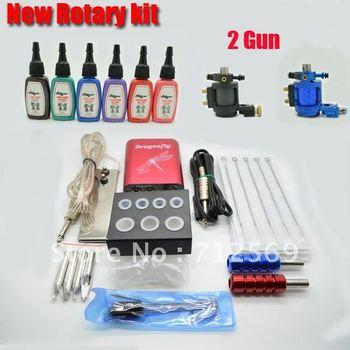 New tattoo kit 2pcs rotary tattoo machine and 6pcs Mini tattoo inks hot sale free shipping