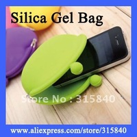 6pcs Mini Silica Gel Cute Bag 7Color Portable Wallet Purse Coin Bag Girl Lady holder Bag--BIB33 Free Shipping Wholesale & Retail