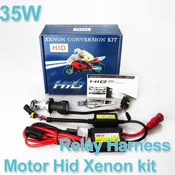 Free shipping wholesale Motor/Motorcycle Bike Hid Lights Kit Bi-Xenon H6 H4 (H4-3) Hi/Low Xenon Bulbs 35W 6000K