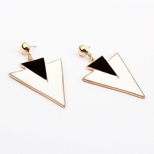 Europe & America Newest Design Jewelry Double Deltas Earrings Min.order is $15 (mix order) Free Shipping (White) E335(China (Mainland))