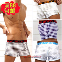 Gmw male panties 100% cotton ultra-thin underwear low-waist trunk plaid aro pants lounge pants