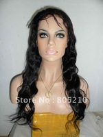 New glueless cap human hair full lace wig 18inch #1b body wave