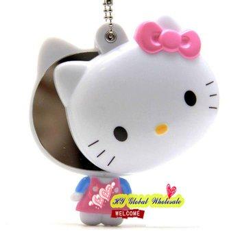 Free shipping! hello kitty hand Mirror / portable pocket cosmetic mirror / key chain / pendant / wholesale