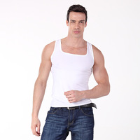 Tight undershirt vest 100% cotton elastic men's square collar vest
