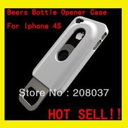 Beers Bottle Opener hard Case For Iphone 4S 4 , Hard Case With Inner Stainless Steel Bottle Opener , MOQ: 1PCS free shipping(China (Mainland))