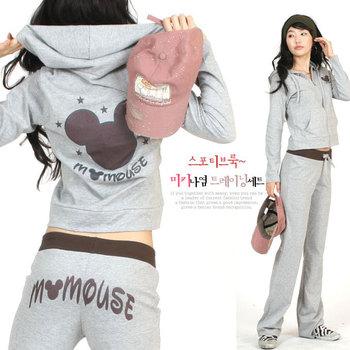 2012 summer new arrival long-sleeve MICKEY sports set hooded sweatshirt set casual wear for women