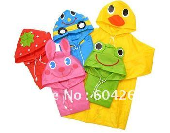 Free Shipping Kids Rain Coat children Raincoat Rainwear/Rainsuit,Kids Waterproof Animal Raincoat 5pcs/lot