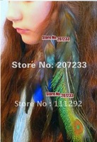free shipping Feather Hair Extension, Clip-In Peacock Sword, Black, Blue.10pc clip in hair extensions