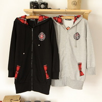 Free Shipping 2012 autumn shirt young girl with a hood sweatshirt applique plaid 38-34w 3
