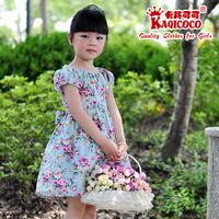 girls kids dress summer 100% cotton high waist short-sleeve little princess casual children dress with double waistband 3T-12