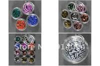 Nail art supplies tools adornment fingernails bright pink/flash powder/sequins crystal phototherapy circular stripe