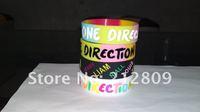 unique design rainbow color ONE DIRECTION wristband 4 model  deboss print  100pcs/lot   free shipping