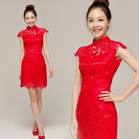 2012 cheongsam lace cheongsam dress chinese style bride cheongsam married cheongsam short design