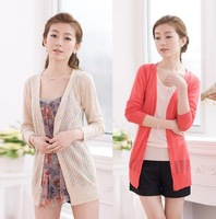 2012 spring women's new arrival cutout sweater medium-long slim long-sleeve cardigan outerwear
