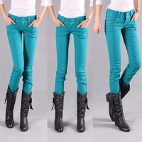 Free Shipping 2012 candy color elastic waist buttons jeans pencil skinny pants 3601