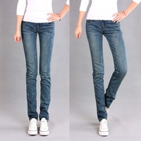 Free Shipping 2012 vintage denim blue women's jeans skinny pencil pants long trousers 8035