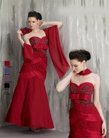 2013 Free Shipping!A-line sweet neckline pleated beaded mermaid red taffeta with shawl custom-made mother of the bride