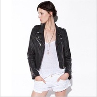 2012 Autumn new PU leather jacket for women Soft round neck short paragraph Slim PU leather coat jacket free shipping
