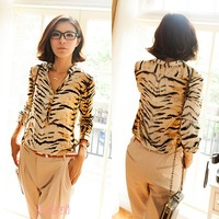 Lady Animal Print Sex Cotton Vintage Blouse Long Sleeve Button Down T Shirt New CY0230