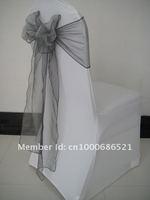 100pcs Spandex chair cover/ wedding chair cover+100pcs organza chair sashes Silver Color