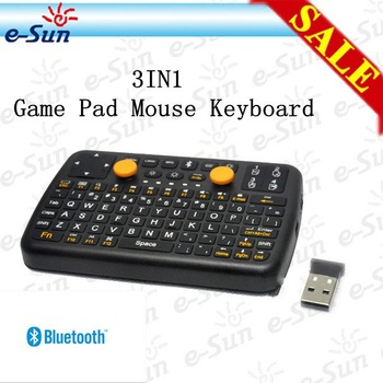 3IN1 MiNi (Mouse+Game Pad+Keboard) Bluetooth Wiireless Keyboard For ipad iphone PC PDA STB DVB TV etc Free Shipping