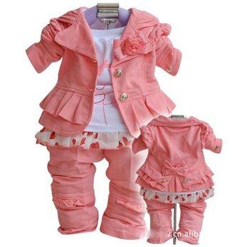 Baby girl suit kids 3 pc children long sleeve new suit coat + t shirt+ pants girls' suits 0910 B zss
