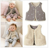 Spring and autumn baby reversible vest baby cashmere thermal vest waistcoat a59