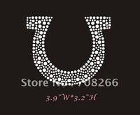Free shipping 50pcs/lot Horse shoe Iron on Rhinestone Transfer Hot Fix Bling for clothing