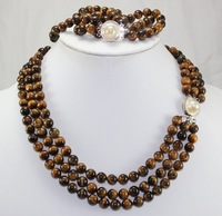 New Fashion Hot Beautiful Lady's Pearl Jewelery Set Natural 3 rows cat's eye necklace bracelet shell clasp free shipping