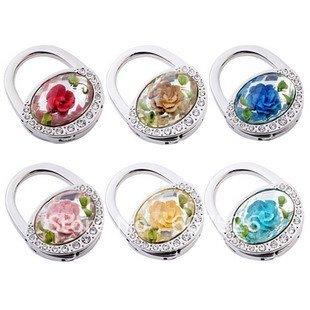 Magic 6pc Wholesale Fashion Mix Color Acrylic resin stone flower+crystal rhinestone folding purse hook holder bag hanger jewelry(China (Mainland))