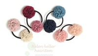 South Korea hair ornaments and yarn contrast color lovely double ball ball hair ring headdress flower 6 g