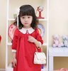 2012 Autumn New Hot Red Girls Long Sleeves Dress 100% Cotten Lace Collar Princess Dress 1pcs