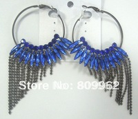 NEW Crystal Earrings3pcs/lot/Free shipping/bridal earrings fashion macrame earring hemi plated popular blue+ free shipping
