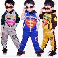 Wholesale! kids clothing set -2 pieces ( pull-over shirts+pants)children boy superman leisure clothing ,boys sport suit , TZ12