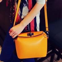 2014 women's PU leather handbag bag candy color orange messenger small bags WB071