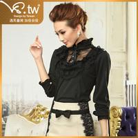 2012 autumn gentlewomen long-sleeve stand collar slim chiffon shirt female lace shirt top women's s2411