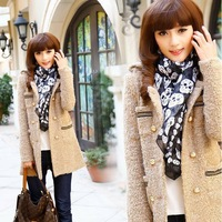 New Arrival  Free Shipping  Ladies Warm Winter Wool Long Coat  Fashion Double Breasted Down & Parkas