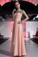 Free shipping latest design silk satin pink long beaded modest prom dress 30387