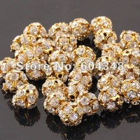 8MM Wholesale Gold Plated With Rhinestone Crystal Hydrangea Ball Loose Spacer European Charm Beads 100PCS/LOT