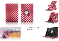 60pcs Polka Dot Sleep Wake Up 360 Degree Rotating Magnetic Leather Case cover for 2 ipad3