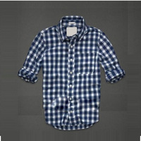 hot sale plaid caual men's shirts with epaulet slim fit long sleeve shirt for man stylish men's clothing 6 color free ship