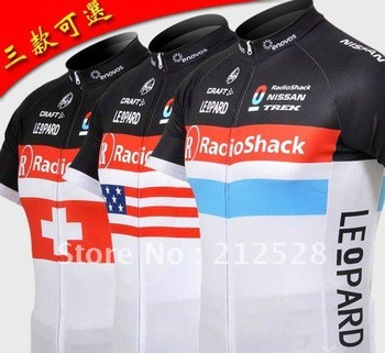Cycling Jersey 2012 Radio Shack Short Sleeve bike jersey polyester material with 3 rear pockets hot selling  on Promotion