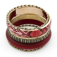 [Mix 15USD] Fashion Vintage Snake Serpentine Pattern Wooden Metal Multi-layer Bracelet Bangle