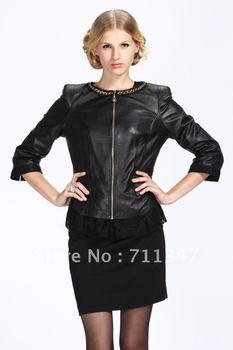 2012 genuine leather women's short design jacket black red pink biker jackets outerwear sheepskin free shipping dropship ex-1211