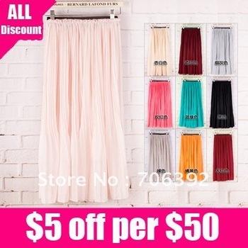Free shipping Europe USA Style Modern Bare Colors Chiffon Full Skirt 1pcs/lot