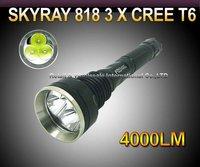 5pcs SKY-RAY 818 5-Mode 4000 Lumens 3 * CREE XM-L XML T6 LED Flashlight 18650 Battery Extendable High Power Torch