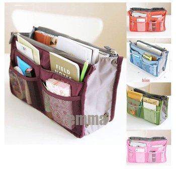 5x fashion Lady's travel Organizer Bag Handbag Organizers Insert With Pockets Popular Storage Bags sweet gift hk free shipping