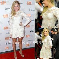 Free Shipping New Style Designer Maika Monroe White Long Sleeve Lace Short Celebrity Dresses CBD091103 ON SALE