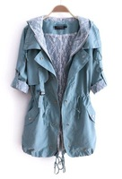 2013 new autumn women outerwear fashion formal with a hood medium-long straight female trench